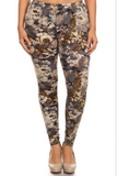 PLUS Navy & Olive Floral Leggings