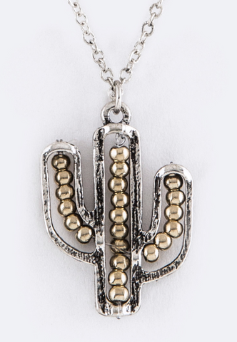 Gold & Silver Cactus Necklace