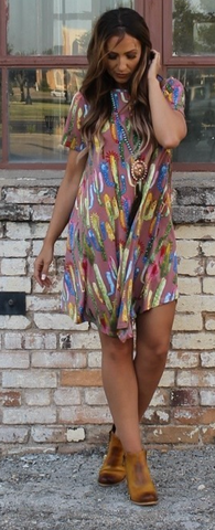 PLUS Mauve Relaxed Cacti Dress