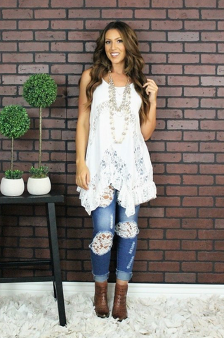 Ivory Lace Ruffle Top