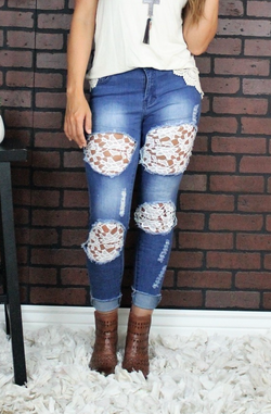 PLUS Perfect Fit Crochet Lace Skinny Jeans