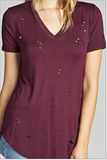 PLUS Wine Distressed V- Neck Jersey T-Shirt