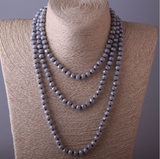 Grayson Long Grey Bohemian Sparkle Necklace - Indigo Peacock Outfit