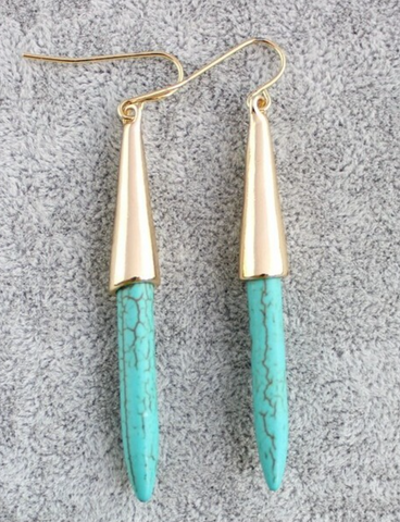 Gold & Turquoise On Point Earrings