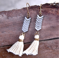 Chevron Cream Tassel Earrings