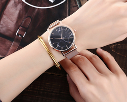 Rosegold Watch with Black Marble Face
