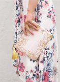 Quartz Gilded Flowers Pocket Clutch