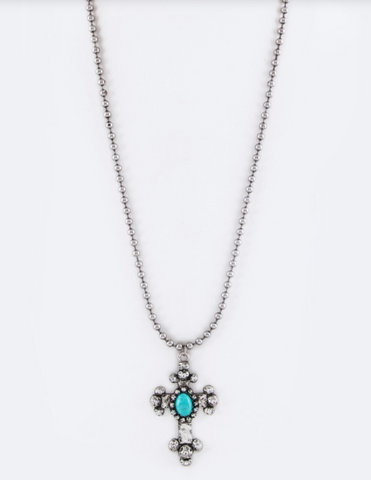 Turquoise Cross Necklace with Ball Chain