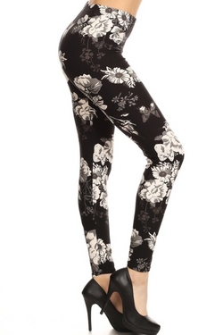 Black & Cream Floral Jr. Leggings