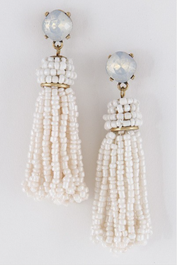 Cream Beaded Tassel Earrings
