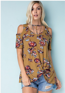 Laural Mustard Floral Cold Shoulder Top