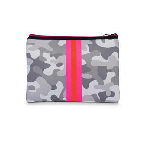 Haute Shore Beth Rise Clutch. Add a pop of color to your fit with this easy yet trendy clutch! Featuring a neoprene white camo material, a pink and orange stripe, gunmetal chain detail, and 2 interchangeable straps.