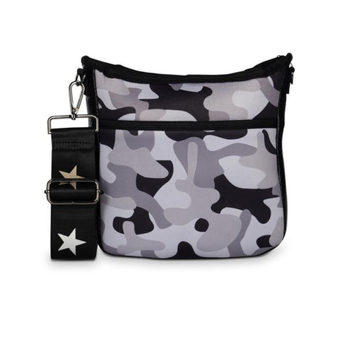 Haute Shore Jeri Model Crossbody Bag. Haute Shore Jeri Noir Crossbody Bag. Update your crossbody bag collection bag with this trendy piece! Featuring a grey camo non perforated neoprene material, star design detail, zipper closure, and hidden front zipper pocket.