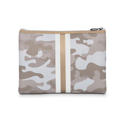 Haute Shore Beth Sahara Clutch. Add this clutch to any of your looks to instantly elevate your fit! Featuring a neoprene beige camo material, a white and rose gold stripe, and 2 interchangeable straps.