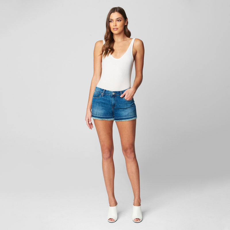Blank NYC Close Attention Denim Shorts. Easy and effortless, these shorts will be your new go-to piece! Featuring a medium wash denim colored material, high rise fit, pocket detailing, and zipper/button closure. Pair with your favorite Springtime blouse and sandals for a look we are obsessing over.