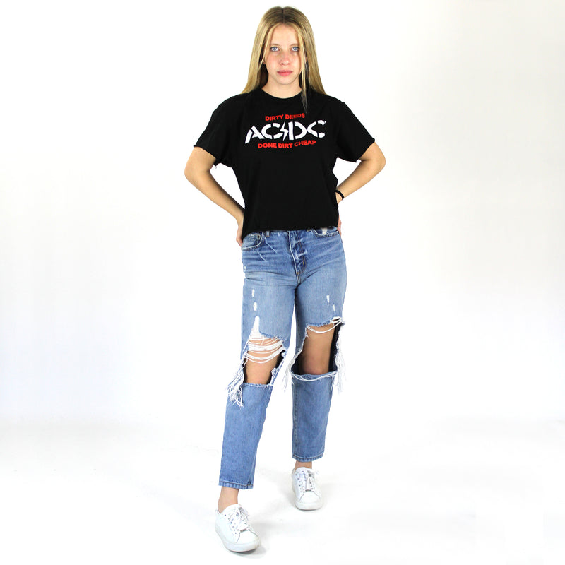 ACDC Dirty Deeds Band Tee. Rock and roll in this fun graphic tee! This ACDC Dirty Deeds Band Tee features front and back graphics and can add an edge to any outfit. Pair with your favorite jeans and leather jacket for a look that'll rock!