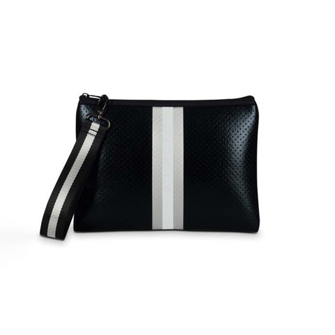 Haute Shore Beth Uptown Clutch. Add this clutch to any of your looks to instantly elevate your fit! Featuring a neoprene black coated material, a silver and white stripe, gunmetal chain detail, and 2 interchangeable straps.