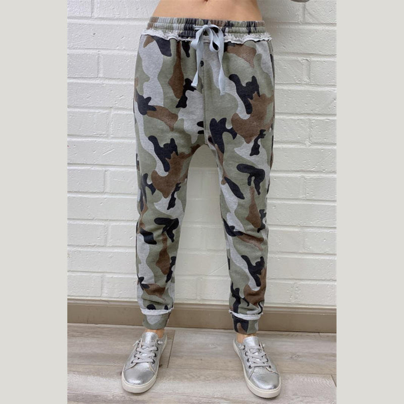 Camo Print Harem Joggers. Camo print is everything for this season, and we are loving these pants! Featuring a camouflage print, high waisted fit, baggy jogger fit, and an ultra soft material. Pair with a black crop top and your favorite sneakers for the perfect chill-day look.