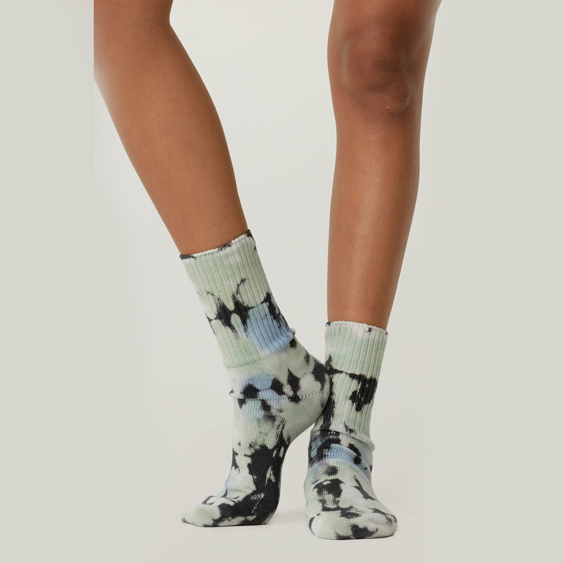 Day Dreamer Green Wash Tie Dye Socks. Putting our best foot forward. Where comfort meets cool, these socks provide an immediate dose of chill. Crafted to go with any Daydreamer piece in your closet, but also, the coziest companions for the matching thermal pieces we made in this same wash.