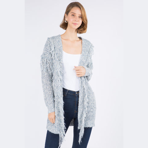 Moonbeam Long Sleeve Fringe Cardigan. Add some flare to your wardrobe with this gorgeous piece! Featuring a knitted material, long sleeves, and trendy fringe details. Pair this with your favorite denim and heeled booties for such an easy, chic look.