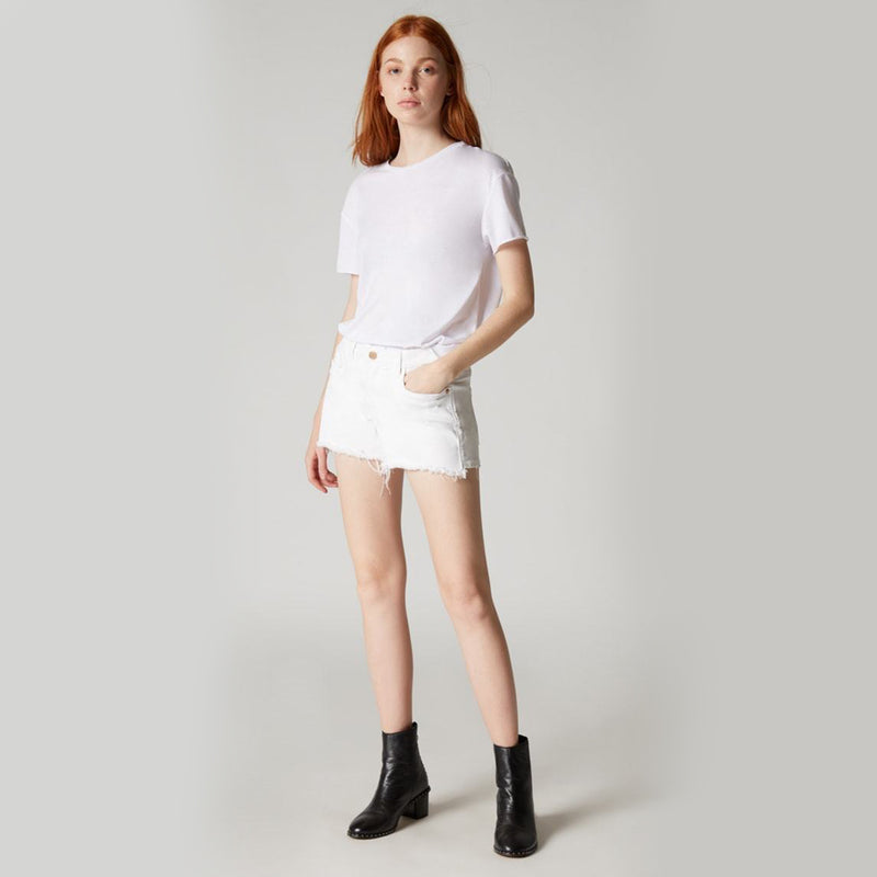 Blank NYC Essex Short in Great White. Everyone needs a pair of fresh white shorts for their new season wardrobe. This piece features a white denim material, high rise fit, and distressed trim. Pair with a tee, leather jacket, and booties for a killer look!
