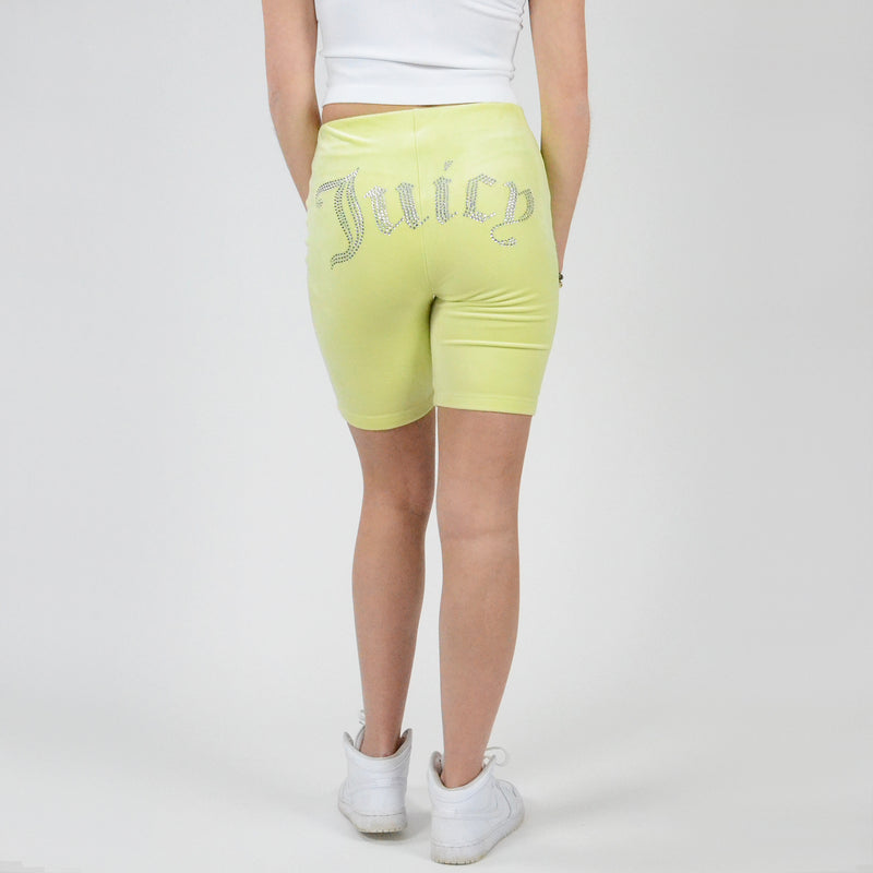 Juicy Couture Long Biker Short. Add some chill vibes to your wardrobe with these biker shorts! Featuring a high waist fit, gorgeous green colored material, and short length. Pair with a white cropped tank and sneakers for the perfect running errands look.