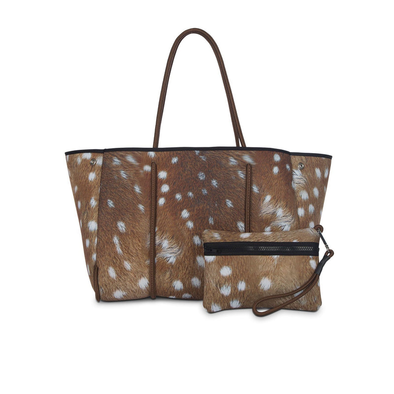 Haute Shore Greyson Range. Don't be fooled, this Haute Shore tote is still the same neoprene bag you love, just with a fun new deer print! The Haute Shore Greyson Range Tote is the perfect blend of style and functionality!