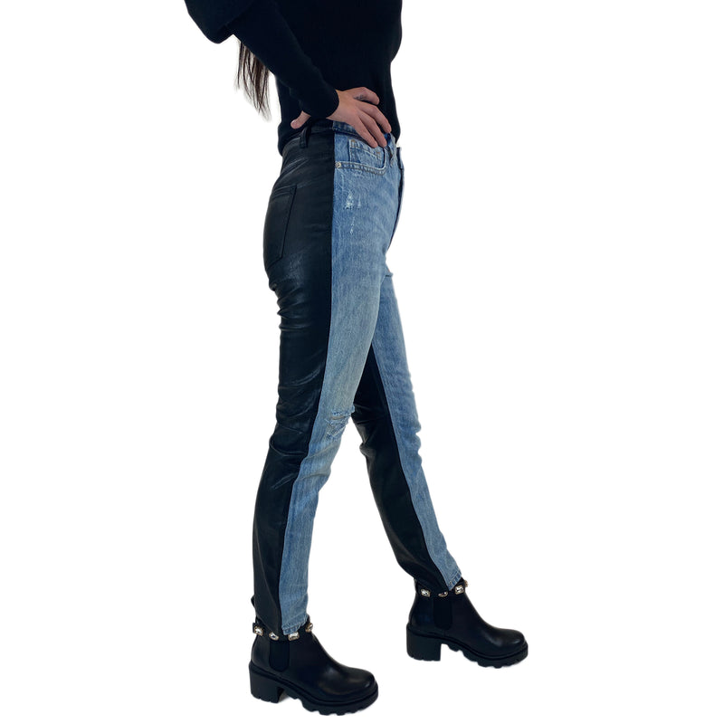 Half Vegan Leather Jeans. The HOTTEST jeans have dropped at Whim! These Half Vegan Leather Jeans are so cool and unique, you need them in your closet. Pair them with a sweater or a band tee for the coolest look out there!