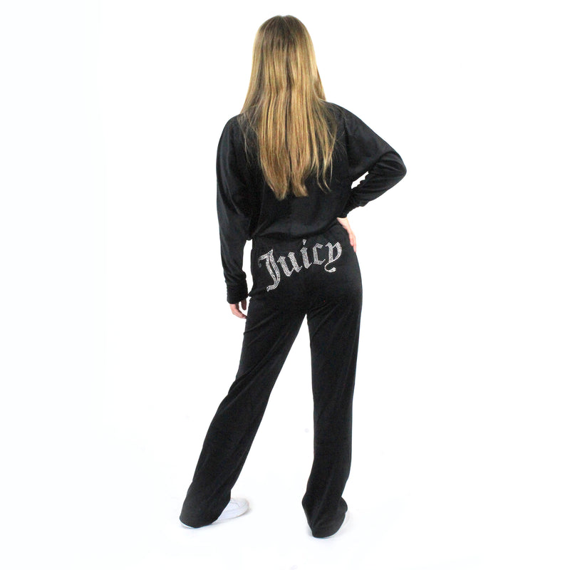 Juicy Couture Embellished Velour Pant. The most iconic comeback of 2020: Juicy Couture! These Juicy Couture Embellished Velour Pants are exactly how you remember them, with the softest velour and cute rhinestone details. We love this paired with our matching velour hoodie!