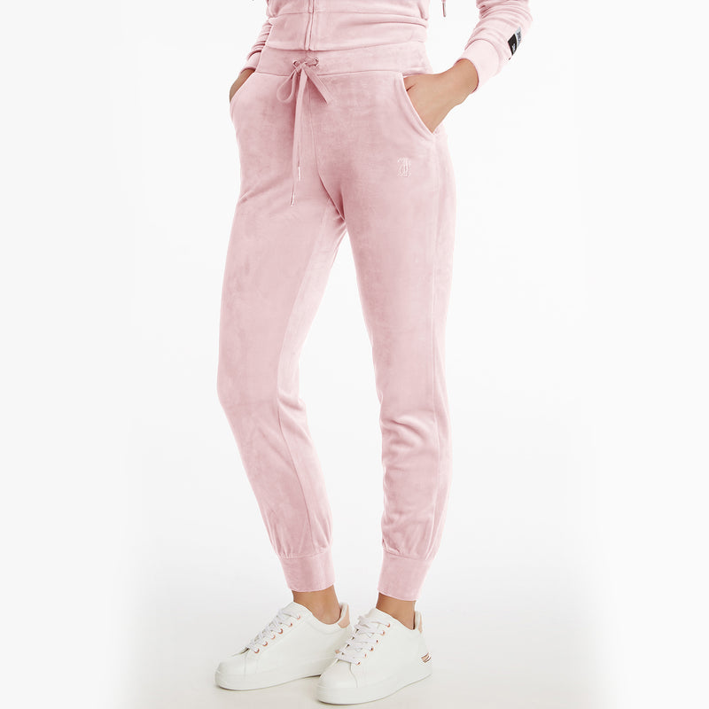 Juicy Couture Embossed Velour Jogger. The most iconic comeback of 2021: Juicy Couture! These Embossed Velour Joggers are made of the softest and most luxurious velour, featuring the classic Juicy logo under the left pocket. Create the most nostalgic matching set by pairing these pants with our Juicy Couture Velour Hoodie!