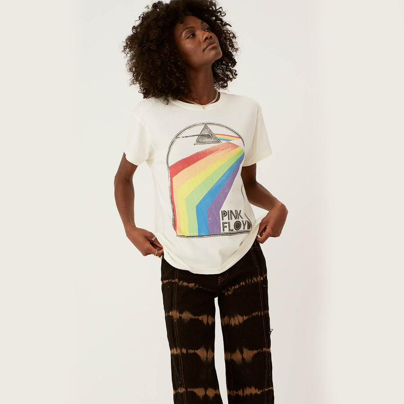 Day Dreamer Pink Floyd Retro Rainbow Tour Tee. Stay on the Dark Side of the Moon with a new release for your collection of classics. Lending a bit of mystery and intrigue, the stone vintage graphic includes the iconic Pink Floyd spectrum prism bolting past a pyramid shape. Not sure what it all means? Well, we'll be taking a cue from Pink Floyd and leave that up to you to decide after a few (or more) wears.