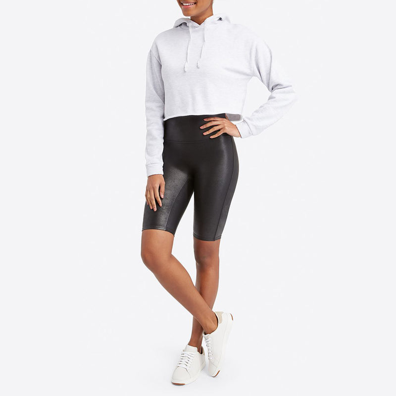 Spanx Faux Leather Biker Short. Faux Leather Bike Shorts are a total compliment magnet and keep you ultra-comfortable. Featuring our contoured Power Waistband, this style gives you a flat gut and great butt. In these shorts, you're everyone's asspiration!