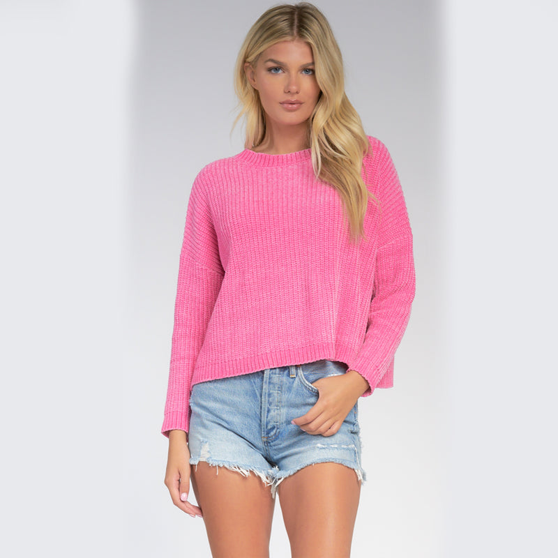 Elan Long Sleeve Cross Back Sweater. Nail the comfy yet cute vibe with this adorable sweater! Featuring long sleeves, a knit material, round neckline, and cross back detail. Pair with joggers and sneakers for a look we are loving!