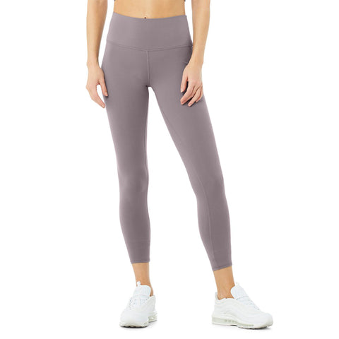Alo 7/8 High Waist Airbrush Legging. The 7/8 High-Waist Airbrush Legging — all the smoothing, sculpting benefits of the full-length version, in a perfectly cropped package. So good for studio & all-day cool for street, this look features flat-locked seaming for comfort and functionality, no side seams, and an on-trend high waist.