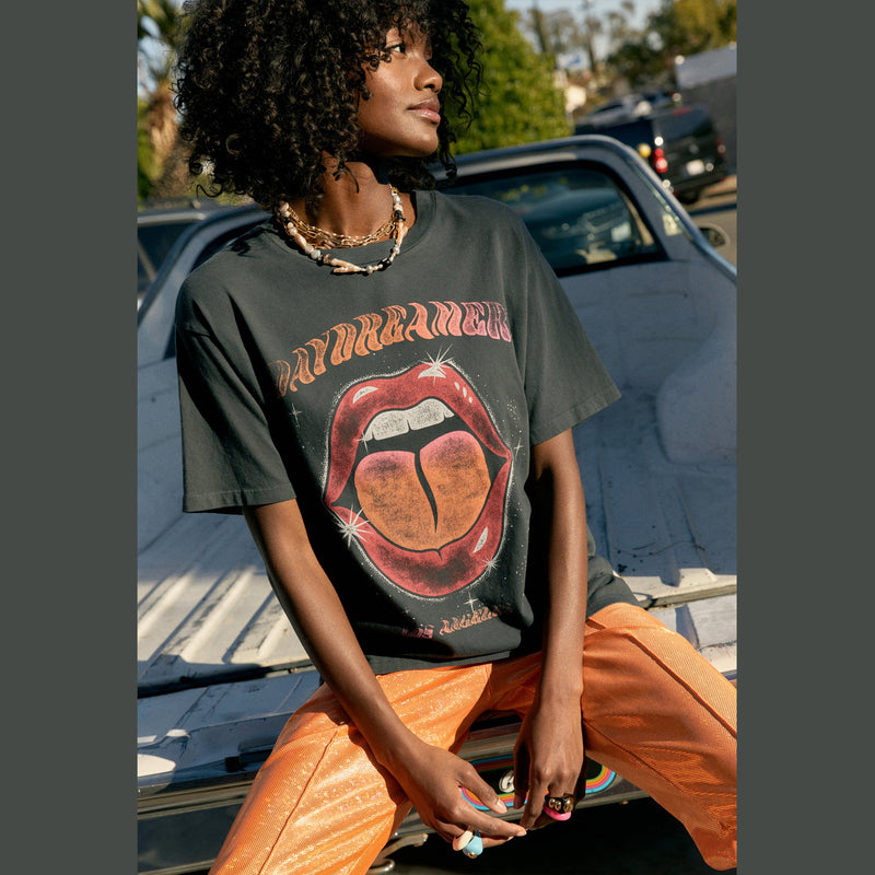 Daydreamer Dreamer Tongue Weekend Tee.Add a bit of symbolism to your daily wear by way of a rock's favorite organ. Rock tastemakers have long paid tribute to their tongues as a way to flex both sex and power.