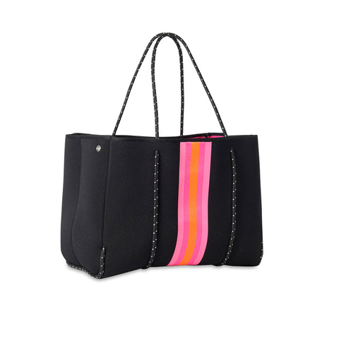 Haute Shore Greyson Rave Tote. This neoprene tote is the perfect blend of style and functionality!  Black bag with pink and orange stripe down the middle.