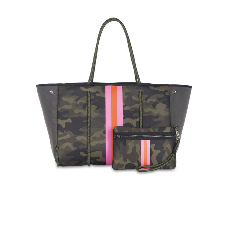 Haute Shore Greyson Showoff Tote. This neoprene tote is the perfect blend of style and functionality!  Green camo center with pink and orange stripe down the middle, and dark green sides.
