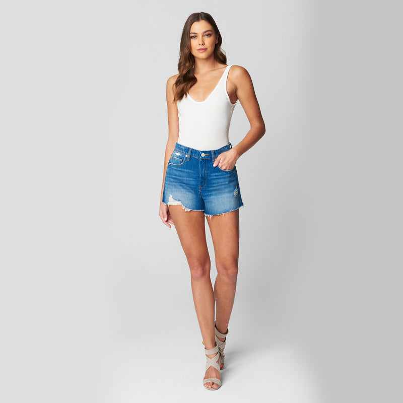 Blank NYC Ground Rules Denim Short. Your new go-to denim short! Featuring a gorgeous medium-wash blue color, high waisted fit, distressed details, and raw hem. Pair with a cute crop top and sandals for the most effortless look.