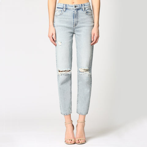 Hidden High Waisted Boyfriend Jean. We are loving the boyfriend trend this season, and these jeans are no exception! Featuring a light-wash denim material, high waisted fit, and ripped detail on the knees. Dress up with a bodysuit and heels for a night out with the girls, or with a graphic tee and sneakers for an everyday trendy look.