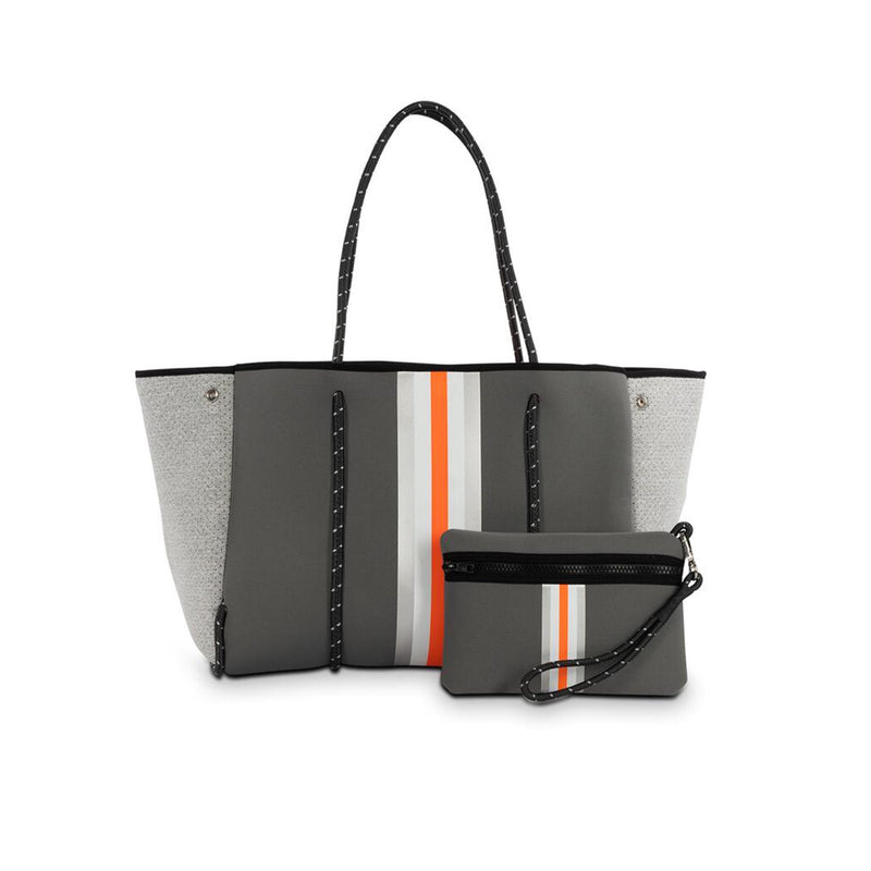 Haute Shore Greyson Hip Tote Bag. This new Haute Shore Greyson Hip Tote is the perfect everyday bag. Featuring a steel grey color, white and orange stripe down the center, and heather marle sides. Add this bag to any of your looks to instantly look more chic!