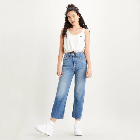 Levi Ribcage Ankle Straight Jean. Inspired by a pair of '90s-era vintage 501® Originals, the Ribcage's extra-high rise and button fly help define your waist. They're designed to elongate your silhouette and make you feel as amazing as you look. This one features a classic straight leg for a timeless vintage style.