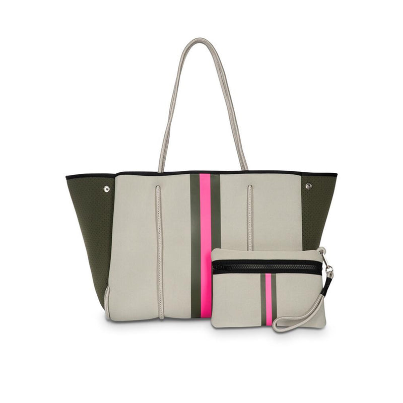 Haute Shore Greyson Swank Tote Bag. Switch up your bag rotation with this stunning Greyson Tote! Featuring a beige color, army and hot pink center stripe, and green camo lining. This bag is perfect for adding some pop of color into your everyday fit.