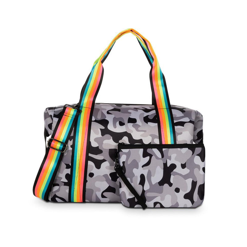 Haute Shore Morgan Ultimate Weekender Bag. This neoprene weekender bag is the perfect trendy yet convenient travel accessory! Featuring a grey and black camouflage pattern, and a pop of color with a neon rainbow strap. This weekender will easily fit all of your belongings for your next get-away.