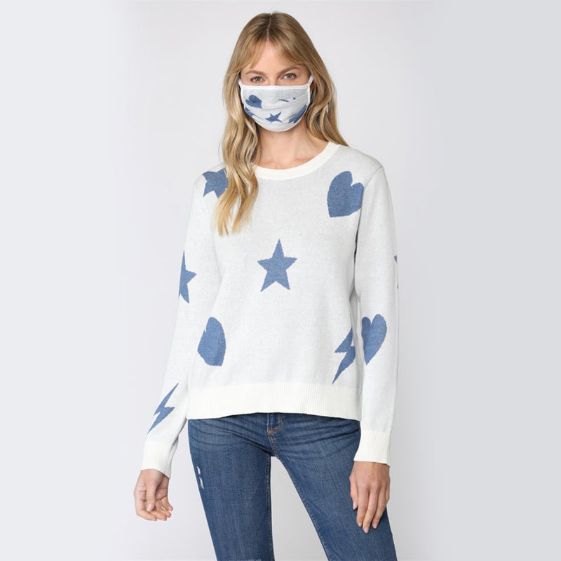Star, Heart, Lightning Distressed Sweater. Keep your knitwear on trend this season! This piece features a super soft material, long sleeves, and adorable star heart and lightening designs. Style with jeans and sneakers for a super cute look.