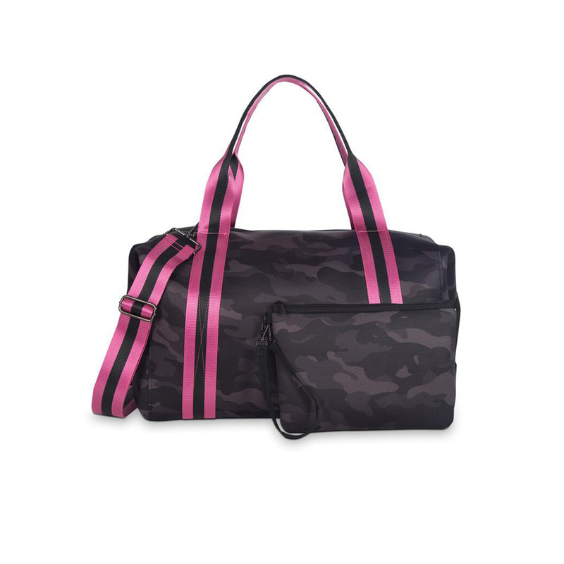 Haute Shore Morgan Elite Weekend Bag. This neoprene weekender bag is the perfect travel accessory! Easily fit all of your belongings in this easy-to-carry, adorable bag!