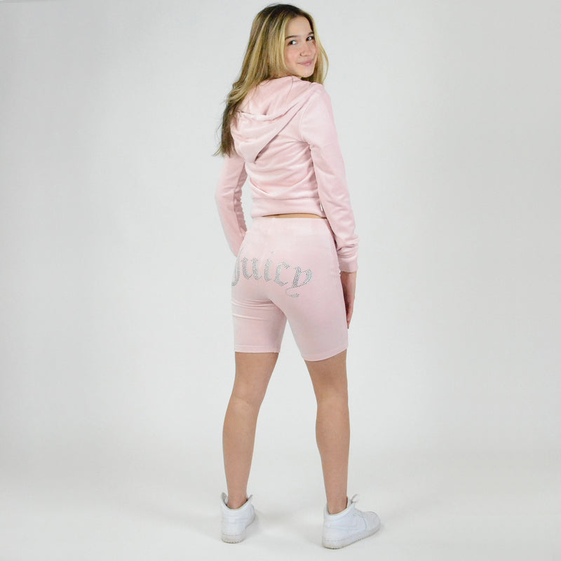 Juicy Couture Long Biker Short. Biker shorts are a must-have this season, and this pair is at the top of our list! Featuring a high waist fit, pretty pink colored material, Juicy detail on the back, and short length. Pair with a white tee, cropped denim jacket, and chunky sneakers.