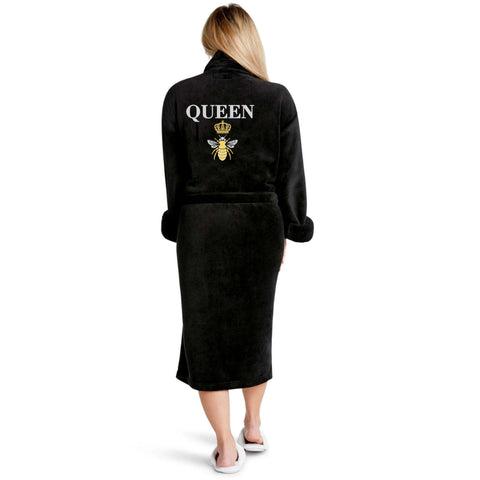 Queen B Plush Robe. Strut in style, even when you are lounging around! This robe takes your chill look to the next level with its super soft material, long sleeves, belted waist, and a glamorous 'queen b' detail on the back. Pair this robe with our matching queen b slippers for a totally glamorous lounge look!