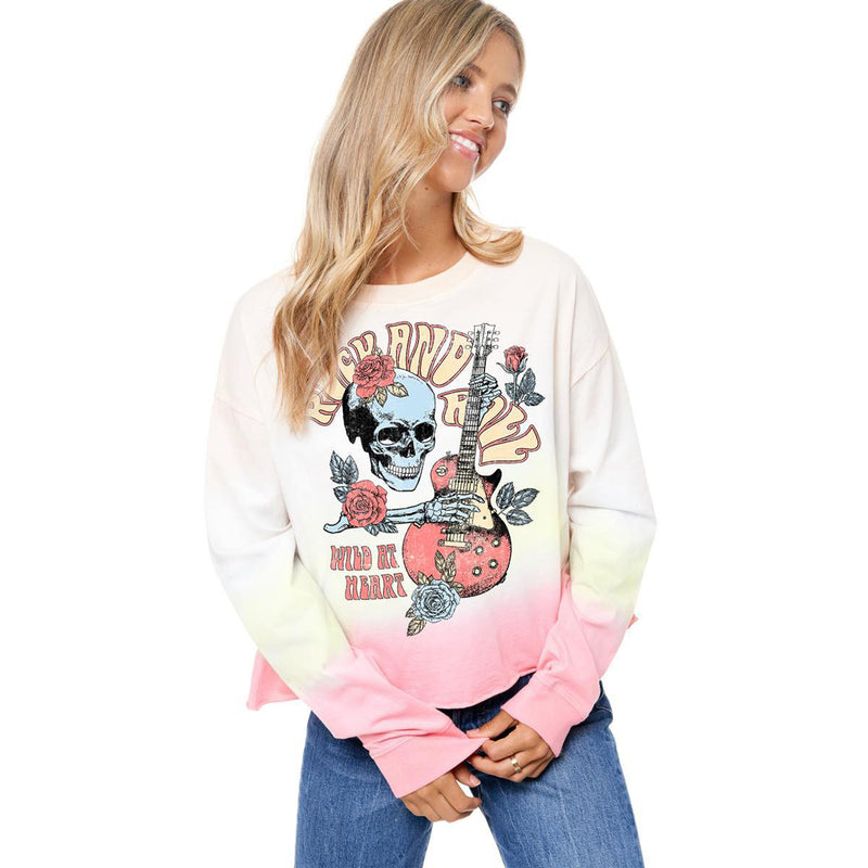 Long Sleeve Rock & Roll Wild at Heart Top. This top is perfect for your chill days. Featuring a white colored material with a yellow and pink dipped detail, multi-colored rock and roll graphic design, and a loose fit. Pair with joggers, slides, and a mini backpack for the perfect running errands fit.