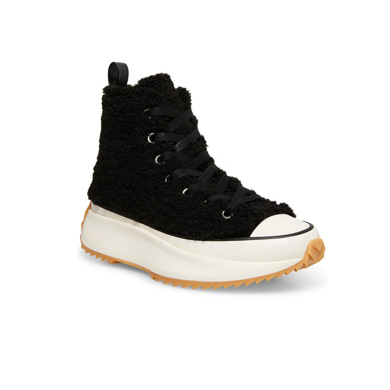 Steve Madden Shaft Sneaker. These are the coziest sneakers you'll ever meet! The Steve Madden Shaft Sneakers feature an all-over sherpa on a platform, lace-up sneaker. Give any outfit a touch of softness with these adorable sneakers!