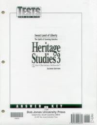 BJU Press Heritage Studies 3 Tests, 3rd ed. Answer Key